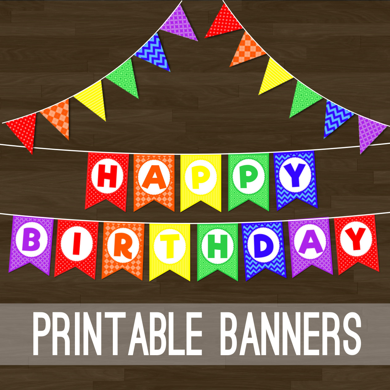 Printable Rainbow Bunting Rainbow Flag Banner And Happy